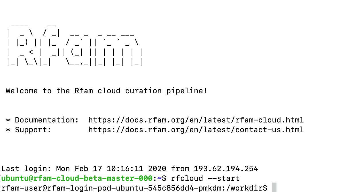 Rfam Cloud command line